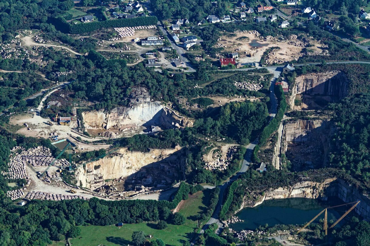 pink granite quarries from the sky